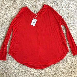 Free People Red Long Sleeve Swing Top Tunic NWT